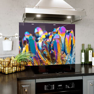 Splashback En Verre Cuisine Cuisinière Rainbow Structure Cristalline Zoom Toute Taille 0511-afficher Le Titre D'origine Forme éLéGante