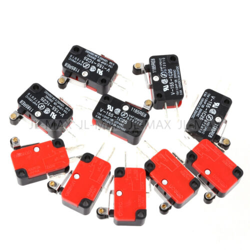 10pcs V-155-1C25 Micro Limit Switch Long Hinge Roller Momentary SPDT Snap Action