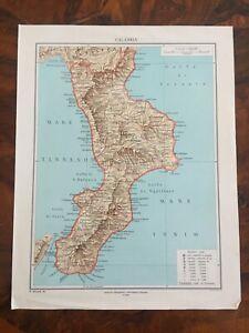 Regione Calabria Cartina Politica.Tavola Geografica Cartina Regione Calabria Igei Roma Ebay