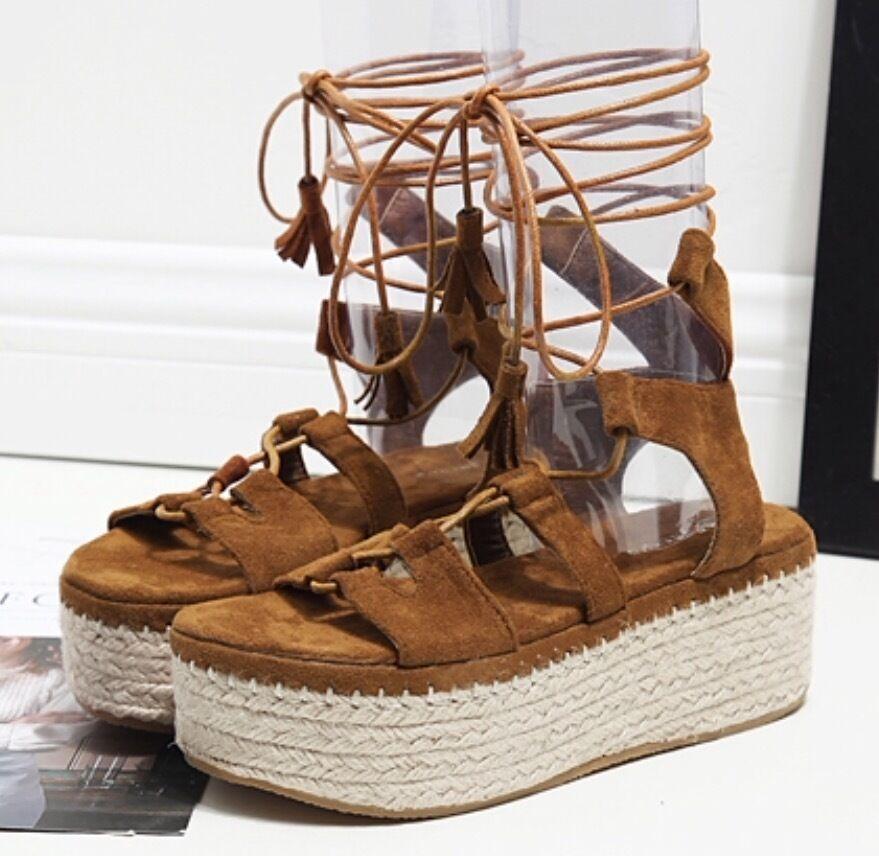 Lace-Up Suede Leder Wedge or Stiefel Espadrilles Denim Sandales Stiefel or 7d499e