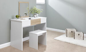 Image Is Loading White Dressing Table Amp Stool Make Up Fold