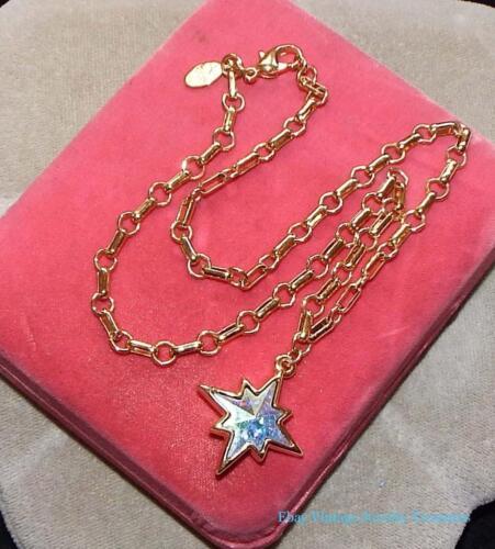 Kirks Folly Aurora Borealis Crystal Star Gold Tone Pendant Necklace