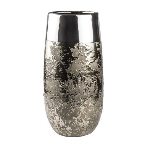 Edler Keramik Vase Blumenvase Tischvase H 25,5 cm gold silber Deko Tropfen