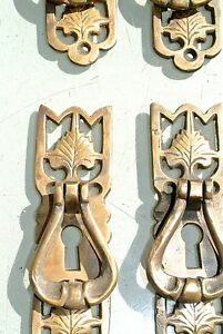 6 small victorian style pulls handles aged door old style drops knobs kitchen KH