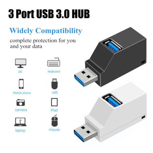 Data Transfer Mini High Speed Adapter USB 3.0 Hub Splitter Box 3 Ports