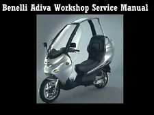 BENELLI ADIVA WORKSHOP SERVICE MANUAL 180pg for 150cc Motorcycle Scooter Repair