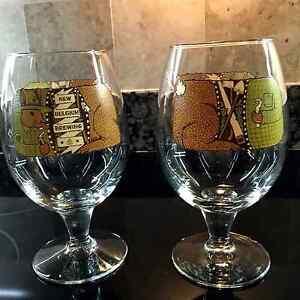 NEW-BELGIUM-BREWING-16OZ-NEW-PAIR-OF-GLOBE-SHAPED-BEER-GLASSES-SERIES-2014-FS