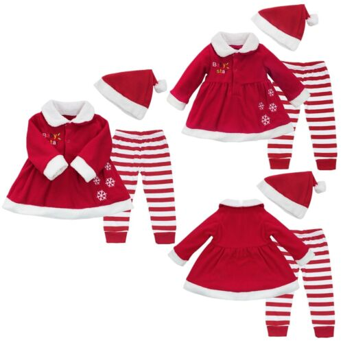 Striped Pants+Hat Clothes Xmas Outfit SZ 9-24 M Baby Girls Christmas Dress Tops