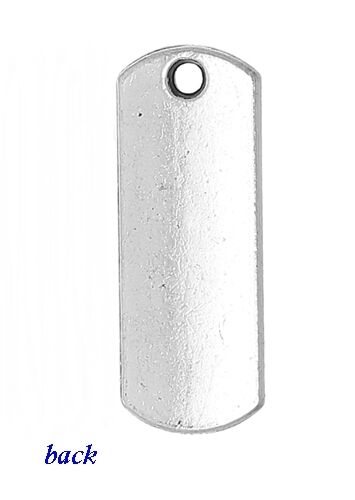 INSPIRE Antiqued Silver 21mm Rectangle Affirmation Traditional Charm 1pc