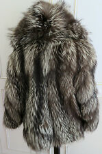 Luxurious Real Platinum Arctic Silver Fox Fur Coat Jacket with hood UK12EU40US10