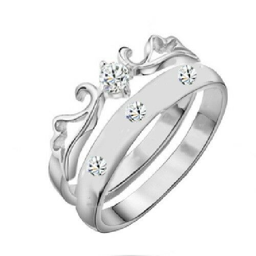316L Stainless Steel 2 Pc Leaf Crown Wedding Ring Set Cubic Zirconia Engagement