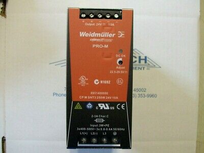 Weidmuller 8708700000 Power Supply 250W 24V 10A Input 3P 400-500V Din-Rail
