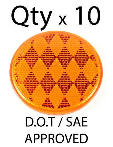 3 Inch Round Amber Reflector Adhesive Bike,Trailer, Truck, Boat, Mailbox-Qty 10