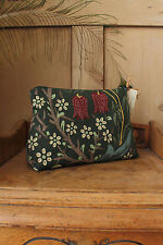 William Morris Cosmetic Wash Bag Purse Blackthorn Fabric Green