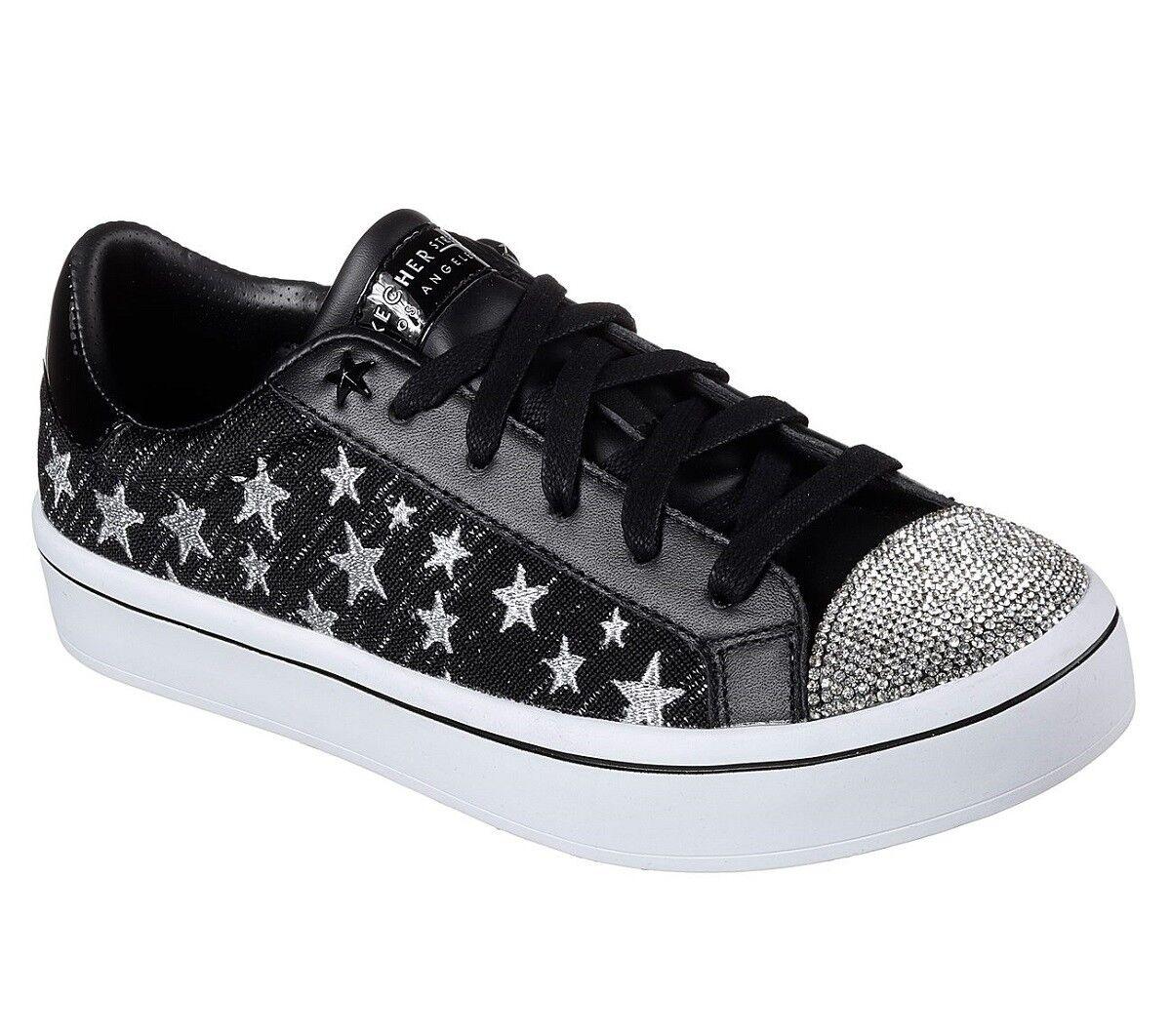 Skechers Plata Metálico Estrellas Pedrería starlicious starlicious starlicious Negro Zapatillas WMS 8 Nuevo con etiquetas  tienda en linea