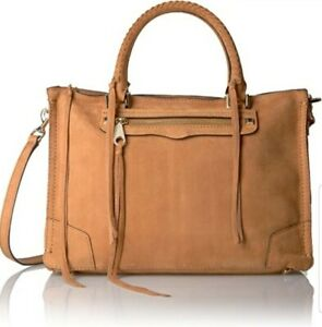 New-Rebecca-Minkoff-Regan-Large-Leather-Satchel-Shoulder-Bag-Almond-Brown-100