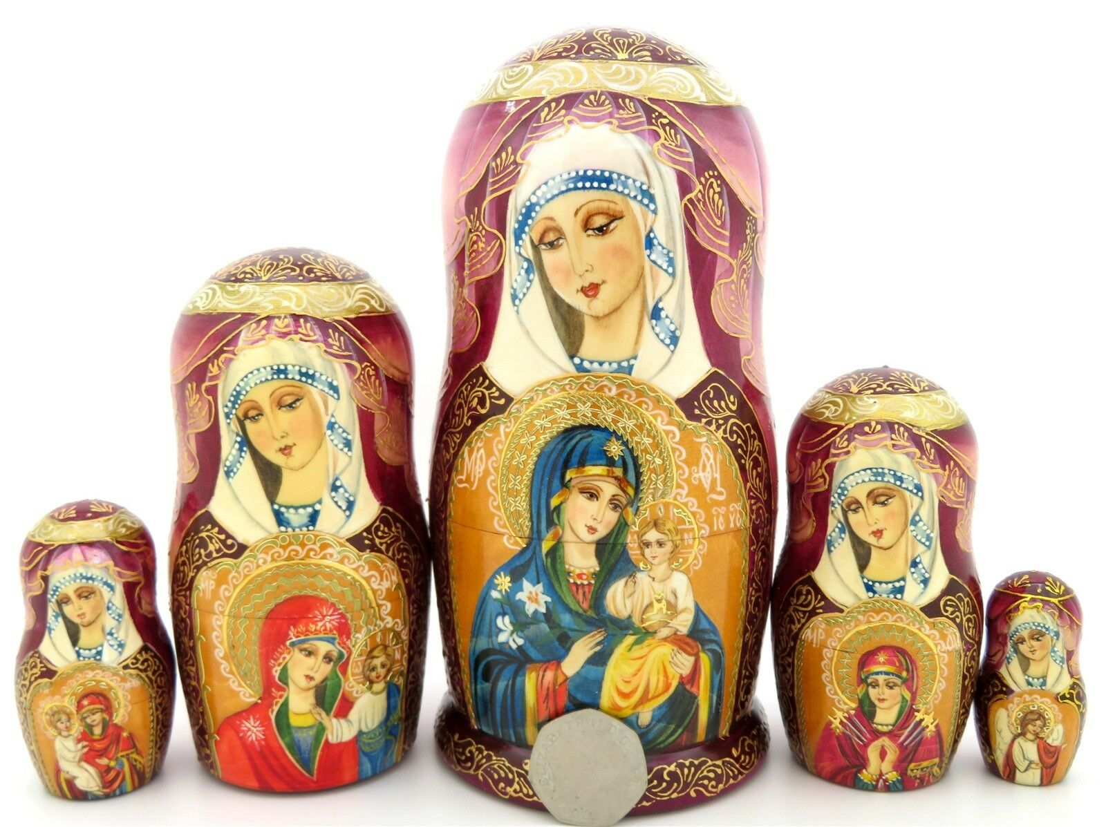 Flor que Nunca Withers Ortodoxo Icon Muñecas-caja Rusas 5 Theotokos Regalo