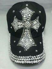 CROSS Baseball Ball Cap Jewel Rhinestone Bling Sparkle Hat Black Adjustable NEW