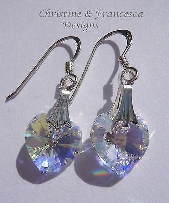 Sterling Silver CRYSTAL AB Heart Bridal Hook Earrings with SWAROVSKI ELEMENTS