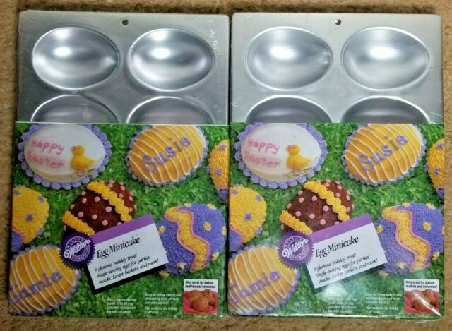 Pair Of Wilton Egg Shaped Minicake Muffin Pans 2105 2118 New In Wrap For Sale Online
