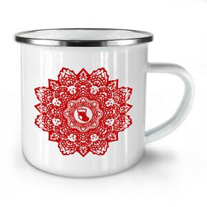 Mandala Flower NEW Enamel Tea Mug 10 oz   Wellcoda
