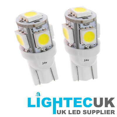 2X 24 VOLT GLB505 507 T10 LED Red Wedge Bulbs HGV TRUCK Sidelight Capless