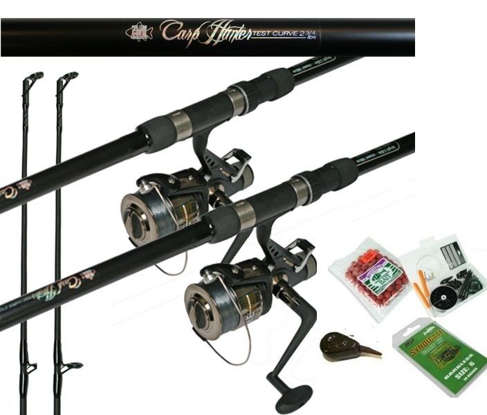 Hunter Carp Fishing Combo 2.75tc Rod & BTR Free Spool Reel,Line Bait,Hooksx2