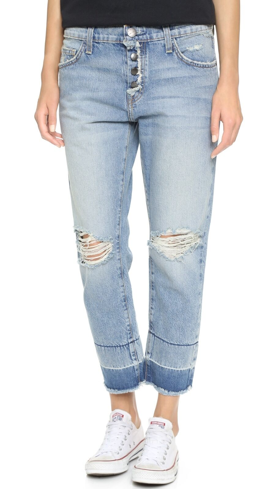 Current Elliott the fling boyfriend jeans w exposed fly destroy bluee sz.27 NWT
