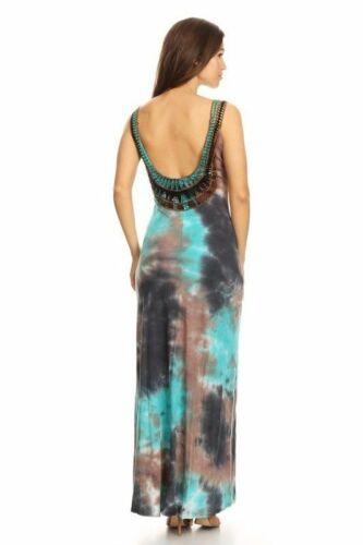 T-Party Sleeveless Tie Dye Trim Maxi Dress # MC51062