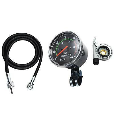 Black Classic Resettable Analog Speedometer Odometer Bike Bicycle Mechanical Wat