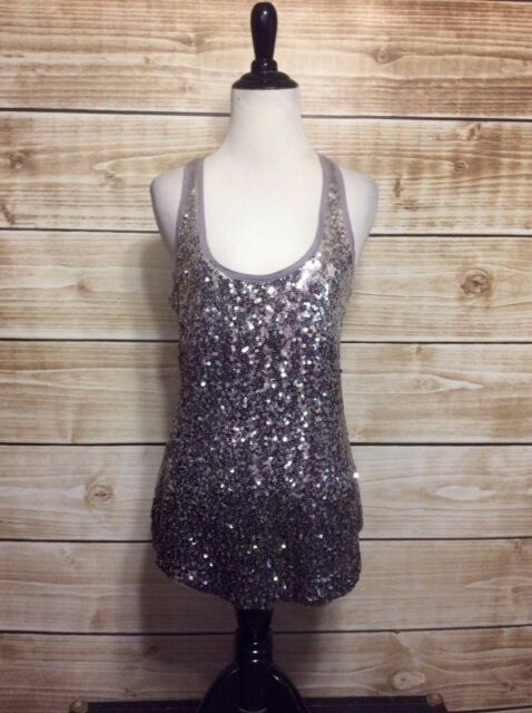 Express Grey Sliver Sequin Racerback Sleeveless Tank Top Blouse Small