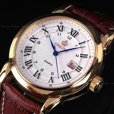 Golden Roman Analog Date Stainless Steel Brown Leather Strap Sport Mens Watch