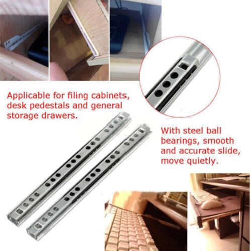 "2 Piece Ball Bearing Slide Rail Cabinet Drawer Runners Slider 8 //10 //13//16/"" 17mm"