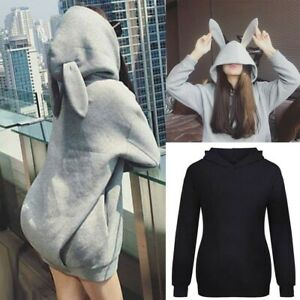Fashion Women Casual Rabbit Ears Top Hoodie Long Sleeve Blouse Loose Sweatshirt