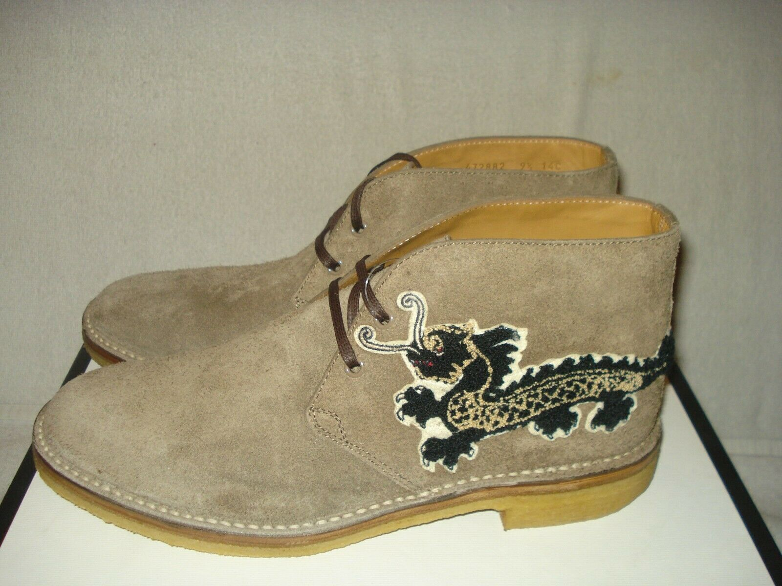 226a33958 100 Auth Men Gucci Moreau Embroidered Chukka Suede BOOTS UK 9/us 10 for  sale online | eBay
