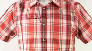 Men-039-s-The-North-Face-size-LARGE-L-Red-Plaid-Vented-Short-Sleeve-Hiking-Shirt-NWT