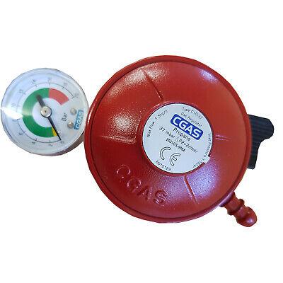 BBQ PATIO GAS CLIP ON PROPANE REGULATOR with GAUGE EN16129-27mm inlet 37 mbar