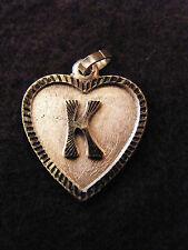 Colgante Corazón Medallón en PLATA Chapado Letra K 2 cm