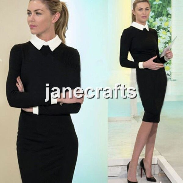 Women Black Slim Bodycon Work Office Cocktail Party Evening Stretch Pencil Dress