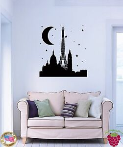 Wall-Sticker-Eiffel-Tower-Paris-France-Night-Travel-Cool-Decor-Bedroom-z1510