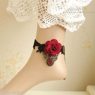 Lolita Red Rose Flower Lace Ankle Anklet Foot Bracelet Handmade Vintage Style