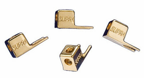 TWO PAIRS 24k gold-plated NO SOLDERING ! 6.5 mm SUPRA FORK XL Spade Connectors