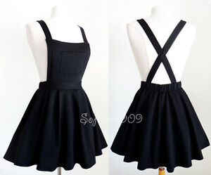 NEW Black Soft Knit Crisscross Suspender High Waisted Pleated CUTE ...