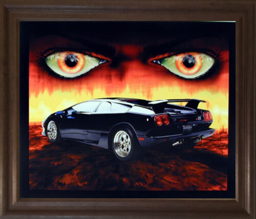 Lamborghini Diablo Classic Muscle Car Brown Rust Framed Art Print 19x23