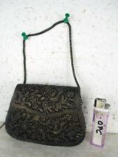alte antike Handtasche Metall gehämmerte Blumen & Vogel Motive Thailand ~1900