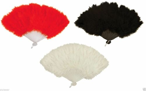 WHITE GANGSTER FANCY FEATHER FANS LADIES BURLESQUE FEATHER HAND FAN RED BLACK
