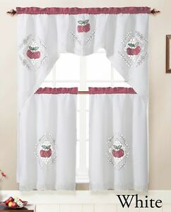 3 Piece Kitchen Window Curtain Set With Embroidered Apple Doily Design Ebay