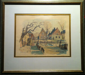Nicholas-Hornyanky-Canadian-Original-Watercolour-Katwijk-Netherlands