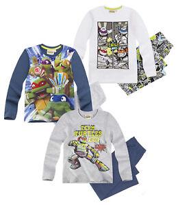 Ninja-Turtles-Kinder-Jungen-Schlafanzug-Gr-116-152-langarm-Nacht-Pyjama-neu