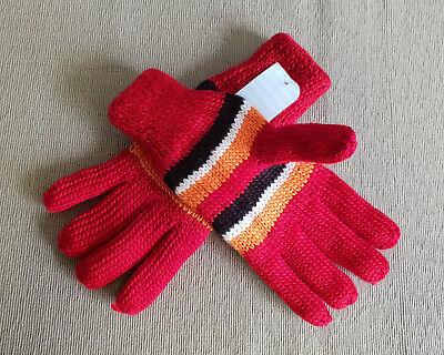 BNWT Ladies Girls Teenager Black Pink Grey Fingerless Knit Gloves One Size